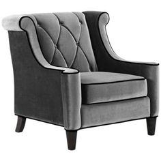 Barrister gray velvet club chair..