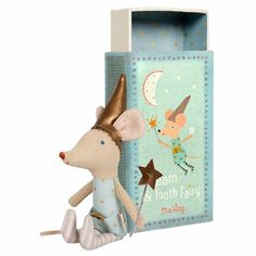 The cutest Tooth Fairy Mouse in the world now comes with a Maileg Match Box!  Dressed in a starry outfit with striped legs and a shiny gold fairy hat. He has a