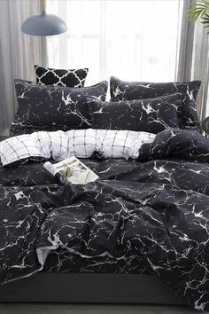 To find out about the Marble Print Sheet Set at SHEIN, part of our latest Bedding Sets ready to shop online today! Cute Bed Sheets, Black Bed Sheets, Best Bed Sheets, Cheap Bed Sheets, Black Bedding Sets, Teen Bedding Sets, Luxury Bedding Sets, Marble Bed Sheets, Marble Bedding