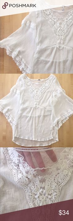Free People Dolman sleeve lace top Delicate and sheer lace top. Needs tank or bralette underneath. Perfect condition! Make an offer Free People Tops Blouses