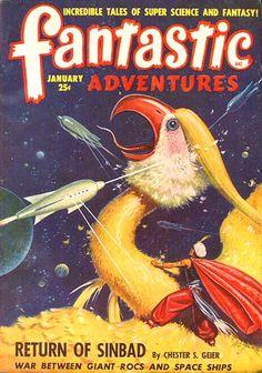 Fantastic Adventures January 1949, cover. So cute!