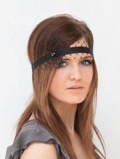 Unique vintage style headband with veiling Bohemian. $19.00, via Etsy.