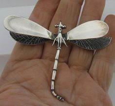 Vintage Signed Mexican Sterling Silver Dragonfly Brooch