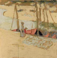 Edouard Vuillard La promenade dans le port en 1908 peinture à la colle sur papier, contrecollé sur carton H. 0.65 ; L. 0.64 musée d'Orsay, Paris, France