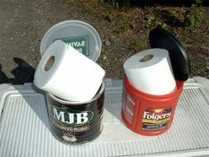 """Coffee cans are wonderful for keeping your """"important papers"""" dry and ready for use under any outdoors weather condition. The plastic Folgers can has a built-in handle for easy carrying to the campground outhouse or out in the woods."""