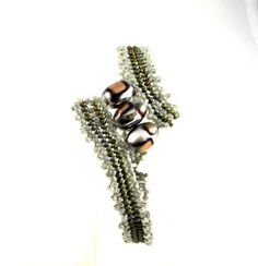 Gray Beaded Bracelet with Copper and Silver by desertshinejewelry, $20.00
