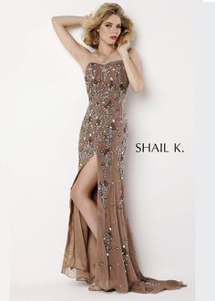 Shail K 3330 - Taupe Sequin Gown Prom Dresses Online #thepromdresses