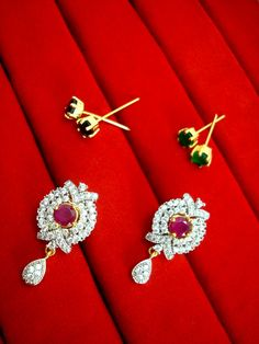 67f7f8bec Daphne Six In One Changeable Zircon Earrings for Raksha Bandhan Return Gift  - Pink Raksha Bandhan