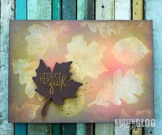 """Stempel: Karten-Kunst Clear Stamp Set – Herbst-Blätter  Karten-Kunst Clear Stamp Set - Herbst-Blätter Karten-Kunst Clear Stamp Set – Capri """"Herbstgrüße""""  Karten-Kunst Clear Stamp Set - Capri """"Herbstgrüße""""  Stanzschablonen: Karten-Kunst Stanzschablone – Fall Leaves Karten-Kunst Stanzschablone - Fall Leaves  Sonstiges: Distress Oxide Stempelkissen, Nuvo Crystal Drops, Nuvo Embossingpulver – Classic Gold"""