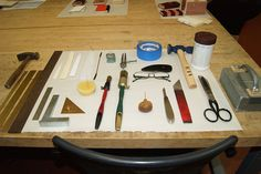 tools for a bookbinding workshop taught by book artist, Karen Hanmer, at Cullowhee Mountain ARTS