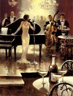 Unknown Artist Brent Heighton Jazz Night Out painting is available for sale; this Unknown Artist Brent Heighton Jazz Night Out art Painting is at a discount of off. Poster Jazz, Arte Jazz, Era Do Jazz, Musica Love, Tableaux Vivants, Jazz Bar, Canadian Painters, Jazz Club, Romantic Evening