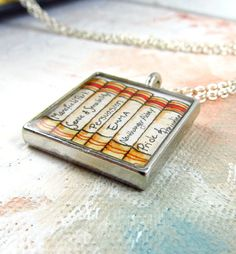 """Perfect for book lovers! """"Jane Austen Collection"""" illustration necklace features titles from all 6 of Austen's classic novels.  Found here: https://www.etsy.com/listing/107533086/jane-austen-collection-illustration"""
