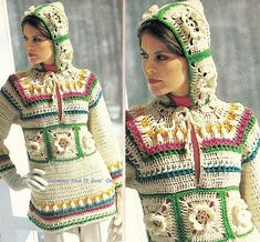 Vintage Crochet Puffed Hooded Sweater by GrandmaHadItGoinOn Vintage Knitting, Vintage Crochet, Crochet Cardigan, Knit Crochet, Knitting Patterns Free, Crochet Patterns, Hippie Crochet, Cool Hoodies, Hooded Sweater