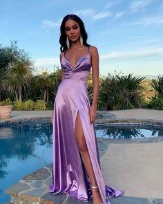 Deb Dresses, Pretty Prom Dresses, Elegant Dresses, Bridesmaid Dresses, Purple Prom Dresses, Simple Prom Dress, Long Purple Dress, Satin Dress Prom, Prom Dress Long
