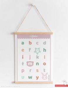 Plakat alfabet różowy
