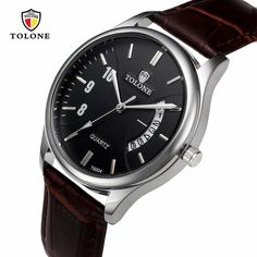 New TOLONE Hot Luxury 12-hour Dial Leather Band Men's Date Watch Stainless Steel Leather Analog Quartz Military Watch  #Affiliate