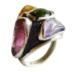 H. Fred Skaggs Sterling Gemstone Ring (tourmaline, citrine, peridot, and amethyst), 1960s