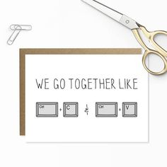 Nerdy Valentine Card, We Go Together Like, Copy & Paste, Funny Anniversary Card, Anniversary Card Geeky, Computer Card, Geeky Husband Wife