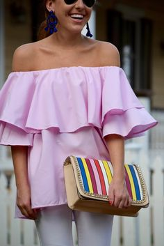 perfect pink ruffle ots top