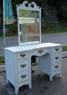 """White Painted Shabby Chic Vintage Federal Reclaimed Vanity Secretary w Desk Mirror. SALE $325. SZ: 70""""H x 48""""W X 18""""D. Call 828-414-9700. by CURIOSITY. For You. Home. Garden., via Flickr"""