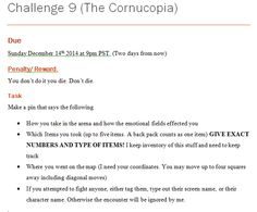 (part 4 final part) Challenge 9 due. Do it or die. Be specific about who you want killed.  First come first serve on all
