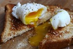 Classic!  Poached eggs on toast!   I enjoy a couple at work, at least twice a week!