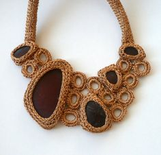 Golden sea glass necklace - crocheted