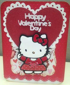 Hello Kitty Handmade Valentine's Day Card. Using the Cricut.