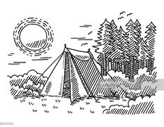 Hand-drawn vector drawing of a Happy Cartoon Sun. Tent Drawing, Camping Drawing, Cartoon Sun, Happy Cartoon, Zelt Camping, Mountain Sketch, A Frame Tent, Best Tents For Camping, Little Doodles