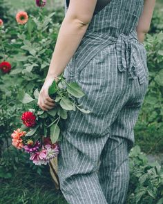 Ethical, sustainable overalls by Lady Farmer. Picking summer's last blooms.
