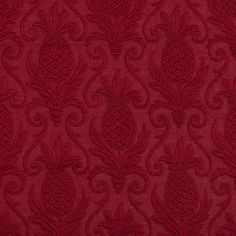 Ruby Red Wine Burgundy Pinele Beach Brocade Swirl Upholstery Fabric