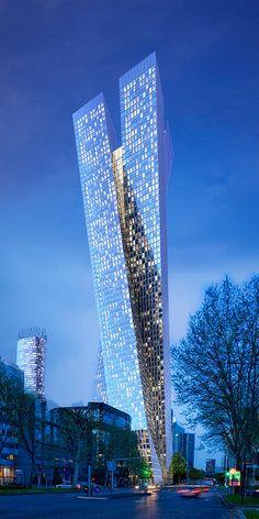 Osmose Tower, La Défense, Paris by Jean-Michel Wilmotte Architect :: 75 floors, height 284m, night view