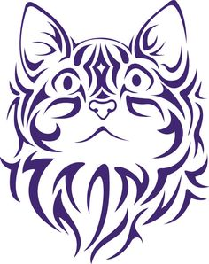 Tribal Cat Face vinyl decal