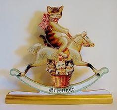 Cat on Rocking Horse w Kittens in Basket | eBay