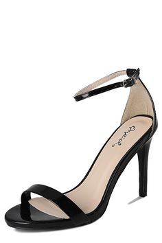 TheMogan Women's Faux Patent Leather Ankle Strap High Heeled Sandal Open Toe Pump *** Visit the image link more details.