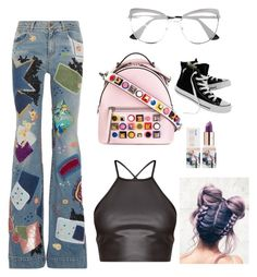 """Sparkle  style"" by thecuteoutffit on Polyvore featuring Fendi, Prada, Roberto Cavalli, Converse and Teeez"