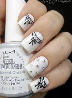 Black and White Nail Art 40 – 55 Black and White Nail Art Designs ♥ ♥ - Diy Nail Designs Fabulous Nails, Gorgeous Nails, Pretty Nails, Black And White Nail Designs, Black And White Nail Art, Black Art, White Polish, Fancy Nails, Love Nails