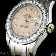 Rolex 18k White Gold Coral Diamond Dial Pearlmaster Datejust