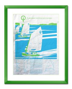 Optimist Sailboat Screen Print Poster Printed on Used Sail Cloth 18x24. via Etsy.