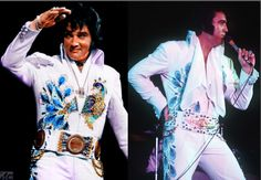 SAME SUIT - 2 BELTS! ELVIS wearing the PEACOCK jumpsuit with 2 different belts. Right side - The Spanish Flower Belt: ELVIS in Los Angeles, CA on May 11 1974. Left side - The Original Peacock Belt: ELVIS in Cleveland, OH on June 21 1974. THE KING wore The PEACOCK Suit for the last time in San Antonio, TX on October 8 1974.