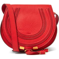 Chloe Small Red Marcie Leather Saddle Bag featuring polyvore, fashion, bags, handbags, shoulder bags, red leather purse, red crossbody, chloe crossbody, leather handbags and crossbody purse