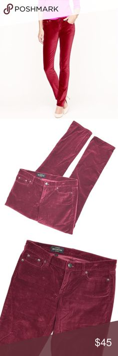 """J. Crew Matchstick Velvet Jean These are perfect for the holidays! J. Crew Matchstick Velvet Jeans in a deep red color featuring cotton with a hint of stretch and a fit that is slim through hip and thigh, with a straight, narrow leg. Waist of 32"""" and inseam of 30"""". Excellent (no rips, stains, significant fading) condition. Care: machine wash. Size 28. Retail $89.50. J. Crew Jeans"""