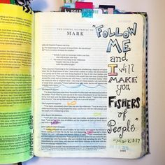 It's my one year Bible journaling anniversary! And here's my very first entry. I used the supplies I had on hand-- pens & colored pencils. Most of the examples of Bible pages I'd seen up to that point had a lot of fancy lettering so I tried my best to emulate them. I actually did an ok job but I slaved over this page for HOURS trying to get it to look as cool as the ones I'd seen online. I look at this page now & I'm just so happy I don't have to worry about that anymore. The secret to…