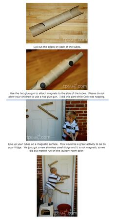 How to Make a Paper Towel Marble Run    These are the steps and photos from the tpcraft.com blog.  http://tpcraft.blogspot.com/2011/02/paper-towel-roll-marble-run.html