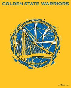 In this modern art print, London based artist Mike Harrison reinterprets the Golden State Warriors logo by constructing it out of dozens of miniature triangles