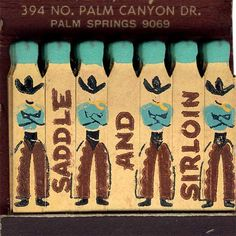 Palm Springs Saddle and Sirloin Restaurant vintage figural matches. via Matchbook Memories on etsy