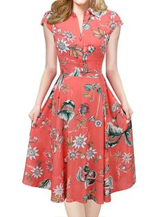 iLover Women V-Neck Floral Vintage Rockabilly Swing Dress at Amazon Women's Clothing store: