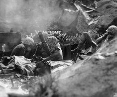 US Marine mortar team Iwo Jima Japan 1945.