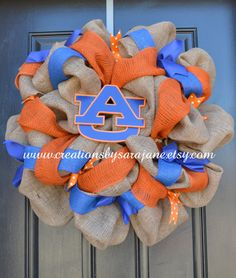 Auburn University Wreath on Burlap. Not an auburn fan, but this is cute. @INDI Design Creel you need this..