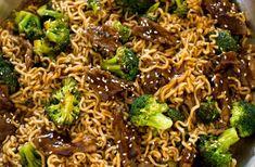 One Skillet Beef and Broccoli Ramen. Everything you love about beef and broccoli but with ramen noodles! Beef Ramen Noodle Recipes, Beef Kabob Recipes, Healthy Vegetable Recipes, Easy Healthy Recipes, Asian Recipes, Healthy Food, Teriyaki Noodles, Teriyaki Beef, Teriyaki Sauce